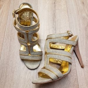 Tory Burch Gold Metallic Canvas Strappy Heel 7.5